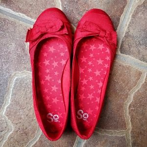 SO Red Bow Fashion Flats